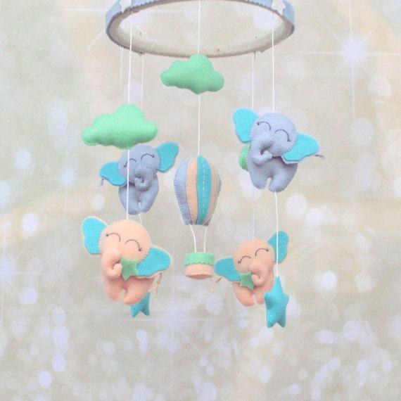 Felt elephants crib mobile  baby nursery by MiracleInspiration