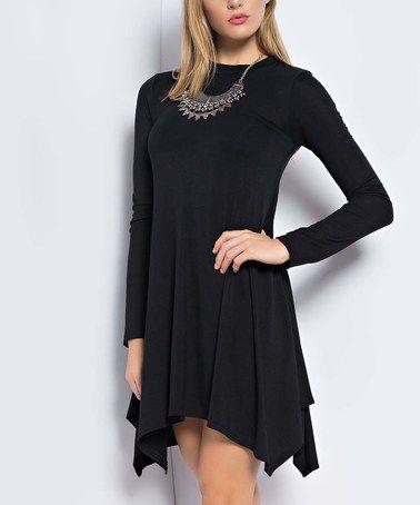 Look at this #zulilyfind! Black Handkerchief Piko Dress #zulilyfinds