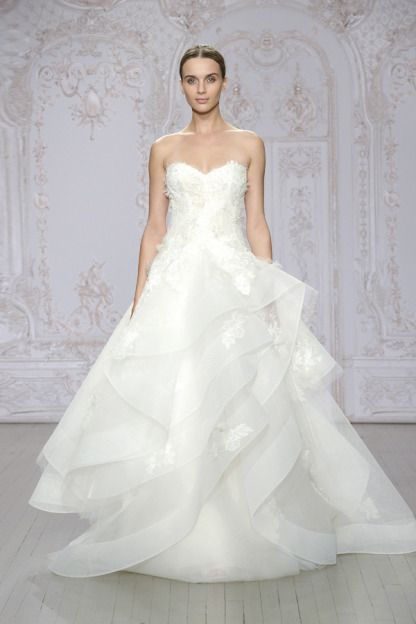 Silk white embroidered Chantilly lace and tulle strapless ballgown: http://www.stylemepretty.com/lookbook/designer/monique-lhuillier/ #SMPLookBook