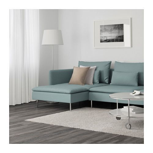 SÖDERHAMN Sectional, 4-seat, Finnsta with chaise, Finnsta turquoise with chaise/Finnsta turquoise