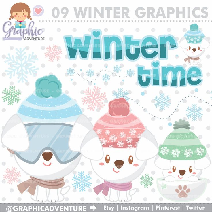 75%OFF - Winter Clipart, Winter Graphics, COMMERCIAL USE, Kawaii Clipart, Dog Clipart, Planner Accessories, Winter Dog, Christmas Clipart