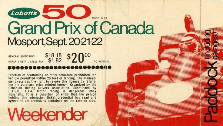 1974 Canadian Grand Prix Ticket