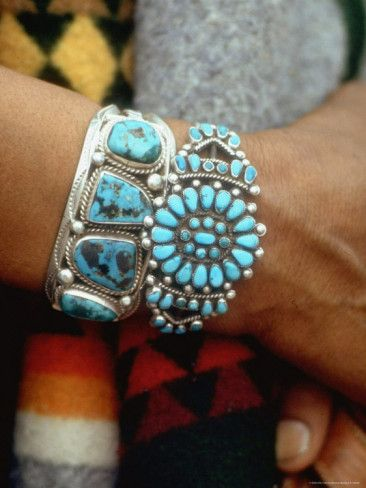 Turquoise Bracelets Made by Native Americans::