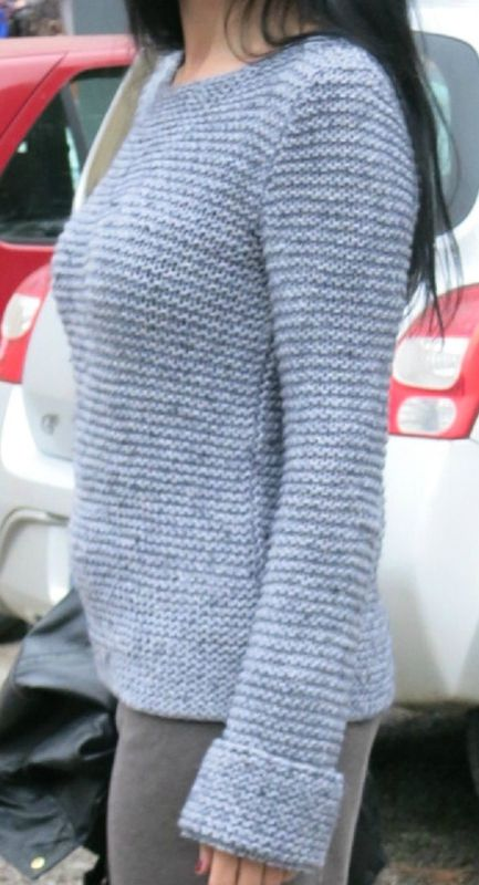 pull en laine aviso de phildar, au point mousse , tout simple