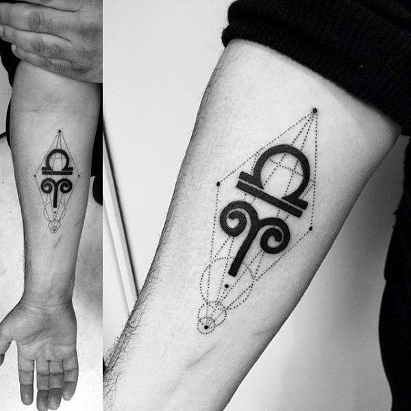 Inner Forearm Libra Geometric Inner Forearm Tattoos For Men