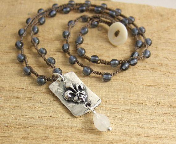 Ketting met bruine koord haakwerk Drop Smokey door jewelrybyroz