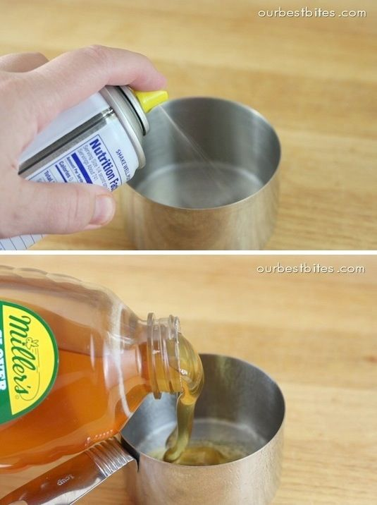 When measuring sticky stuff like honey, molasses or peanut butter, spray your measuring cups with a non-stick spray