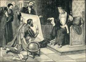 John Cabot explaining his great Discovery of the New World to King Henry VII of England. King Henry defied Rome and granted Cabot a Royal Charter on March 5, 1496, in the 11th year of his reign.