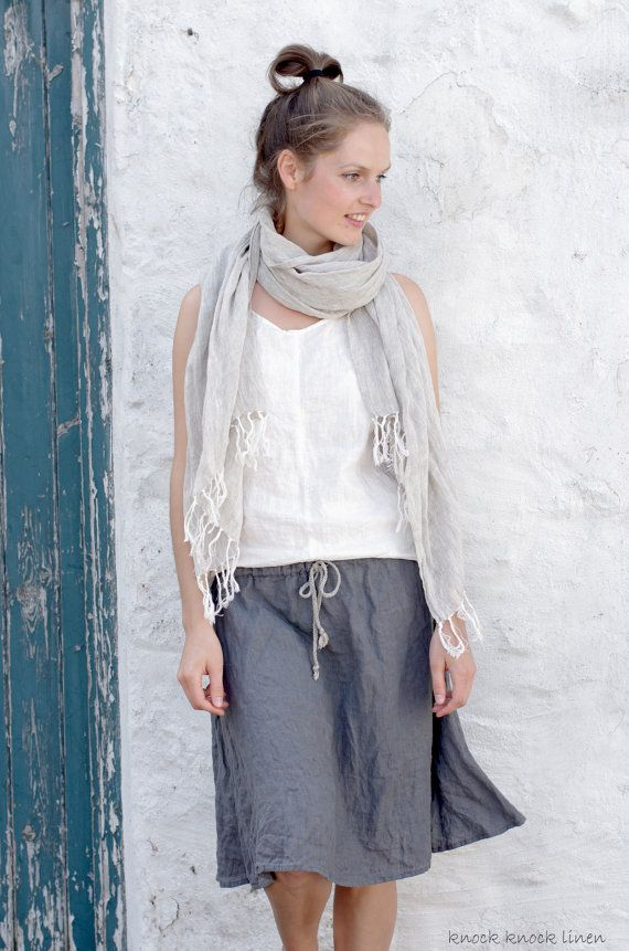 Grey Linen Skirt by KnockKnockLinen on Etsy, £46.00