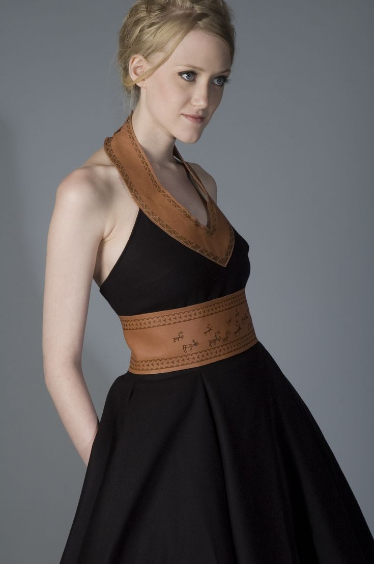 Sami inspired fashion;  Black dress, wool, reindeer leather with patterns