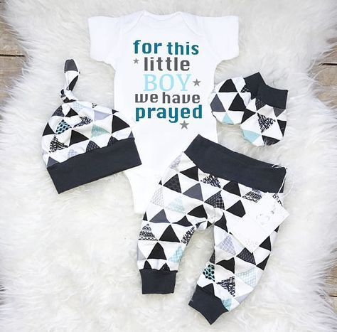 Coming Home Baby Boy Outfit Newborn Boy Clothes For this Boy we had Prayed Triangles Baby Boy Leggings Hat Baby Shower Gift Tribal Mittens