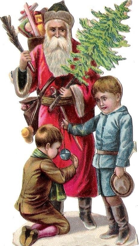 Oblaten Glanzbild scrap die cut chromo Nikolaus father XMAS pere noel Kind child: