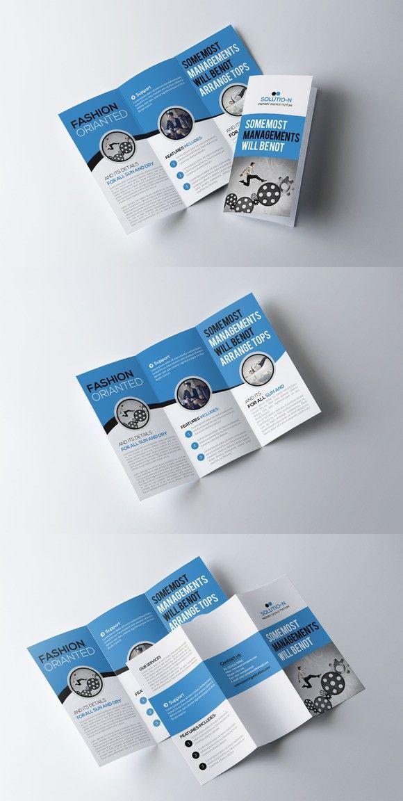 Plantilla de folleto tríptico empresarial   – Pluss