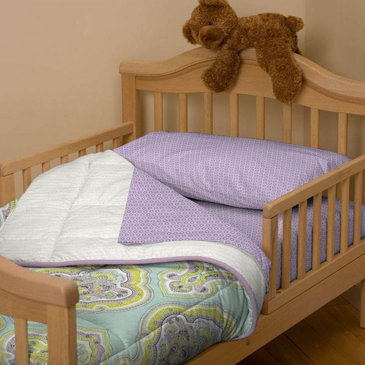 Aqua and Amethyst Laval Toddler Bedding #carouseldesigns