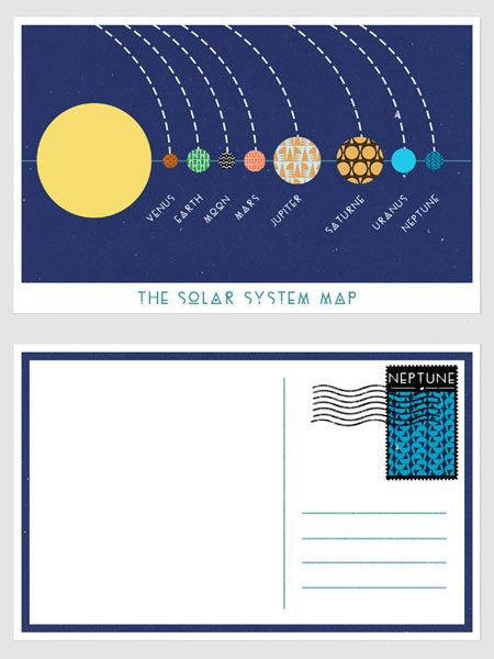 Cute idea - postcards from space for class. Voyager font ...