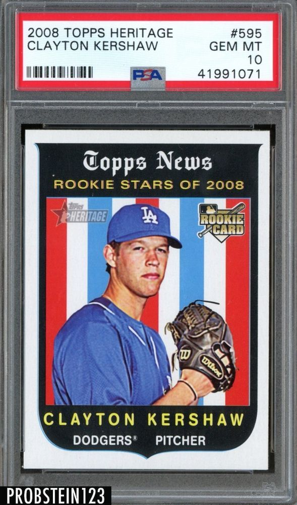 2008 Topps Heritage 595 Clayton Kershaw Dodgers Rc Rookie Psa 10 Gem Mint Baseball Cards Clayton Kershaw Baseball
