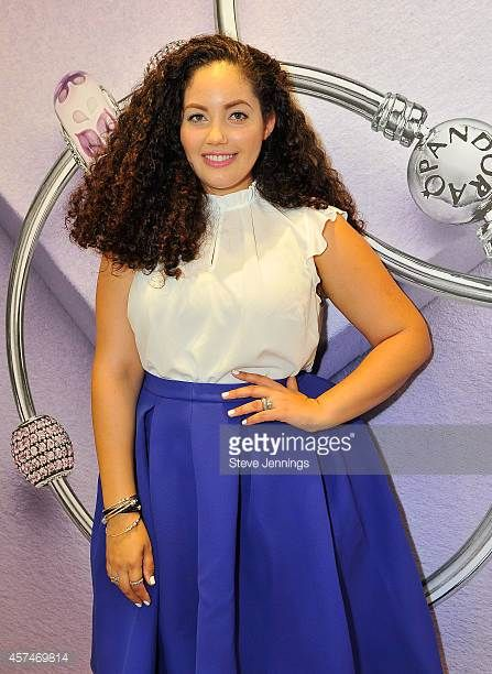 Tanesha Awasthi Fashion Lifestyle Blooger of Girl With Curves attends Pandora's jewelry event at Westfield Valley Fair on October 18 2014 in Santa...
