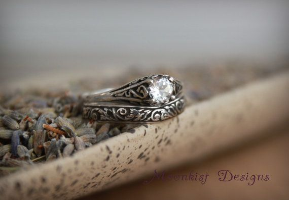 Filigree White Sapphire Wedding Set in Sterling Silver - Engagement Ring with Fitted Tendril and Vine Band