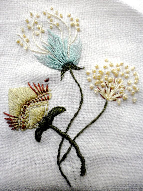 Rustic Freehand Embroidery Needlework, ready for applique