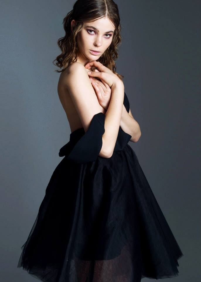 Little black dress with tulle skirt from 2015 Evening Collection by Sylwia Kopczynska