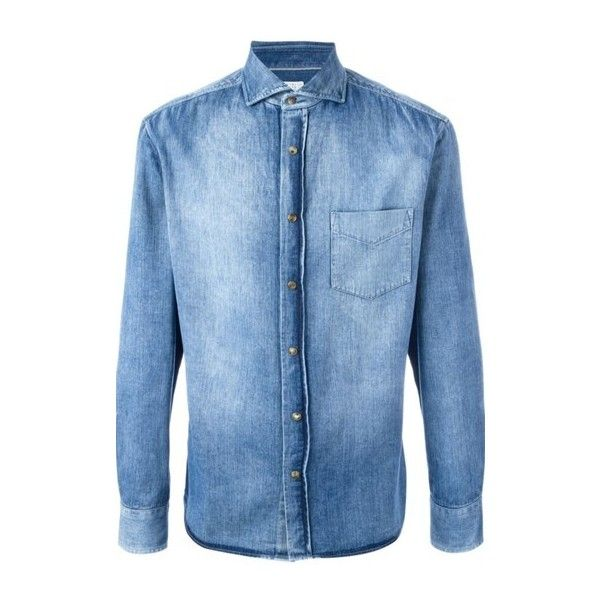BRUNELLO CUCINELLI Stonewashed Denim Shirt ($566) ❤ liked on Polyvore featuring men's fashion, men's clothing, men's shirts, men's casual shirts, light blue, mens light blue denim shirt, mens denim shirt, mens shirts and mens light blue dress shirt