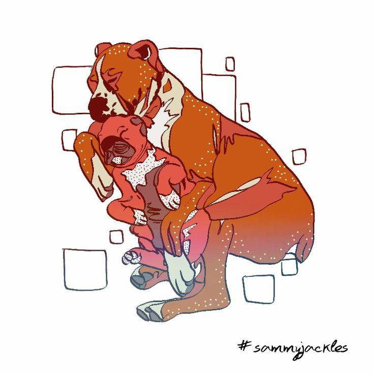 Mother's comfort. #sammyjackles #doggies #adorable #dogs #dogart #art #pets #petart #petart for sale