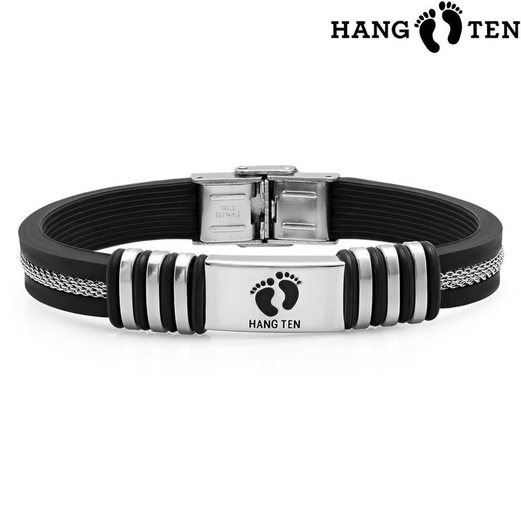 "Hang Ten Men's Rubber Bracelet, Black/Silver, 8""X0.4"". Comes with a Free Black Velvet Gift Pouch. Hypoallergenic. 8"" L x 0.4"" W. Push and Click."