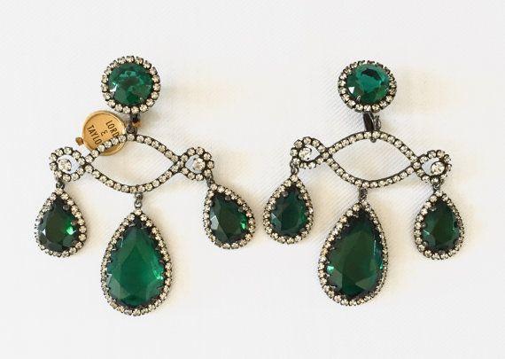 Vintage Kenneth Jay Lane Runway Dramatic Emerald by SixpenceBride