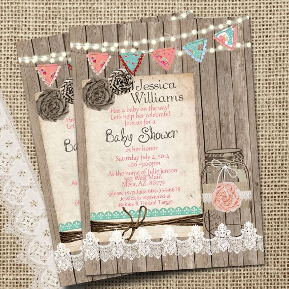 Rustic, Mason Jar,  Burlap and Lace Baby Shower Invitation, Invite, Wood, Lights, Shabby, Printable, Customize, 5x7