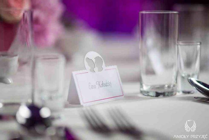 3. Fuchsia Wedding, Place card,Silhouette / Wesele fuksjowe,Winietka,Anioły Przyjęć