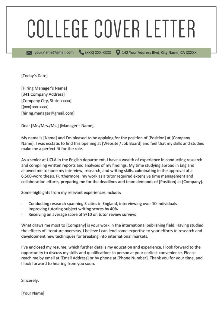College Student Cover Letter Sample Cover letter example
