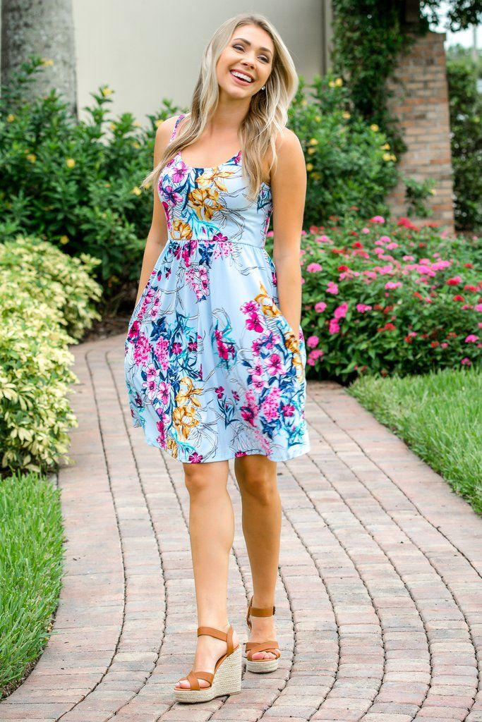 3c60392aa8 Hello Beautiful Blue Floral Dress - Simply Me Boutique SMB – Simply Me  Boutique