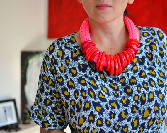 ON SALE Hot pink and bright red statement necklace/trendy by IKKX