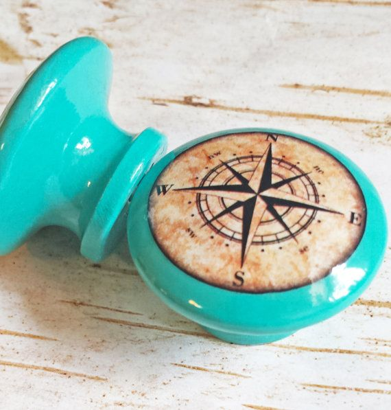 """Nautical Knobs, Aqua Blue Handmade Drawer Pulls, Antique Style Compass Cabinet Pull Handles, 1.5"""" Sea Dresser Knobs, Made To Order"""