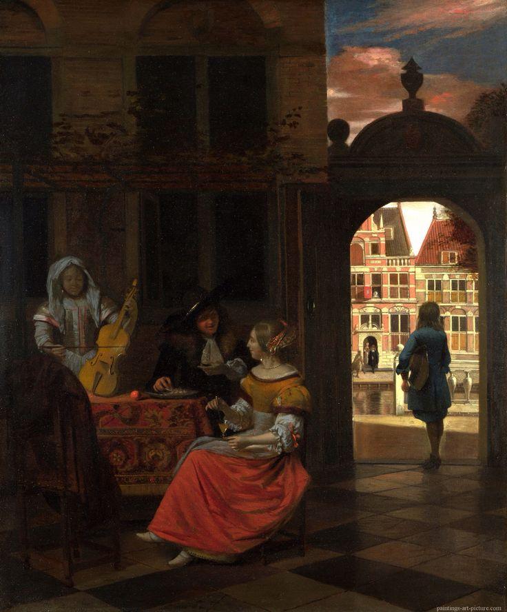 Pieter de Hooch: A Musical Party in a Courtyard, circa 1677