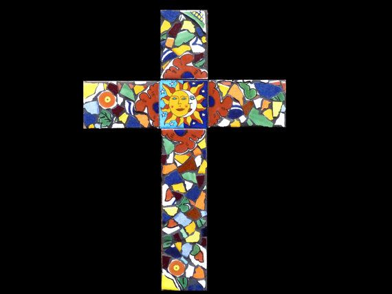 southwestern mosaic wall | 12 Inch Mosaic Southwestern Cross Made with Talavera Tiles