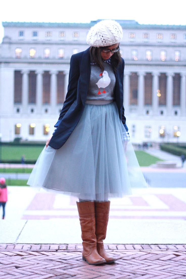 tulle skirt with sweater and blazer