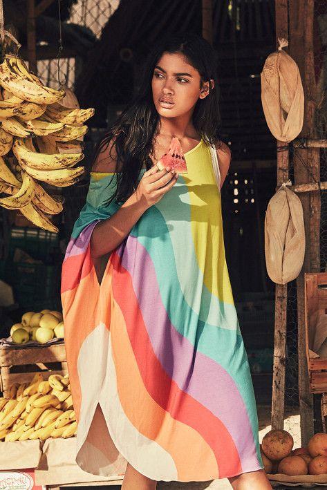 Mara Hoffman || Draped dress in auralight print | Soleil Blue