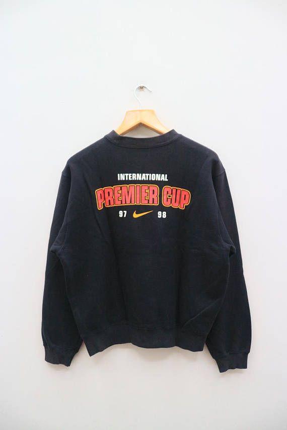 Vintage Nike International Premier Cup 97 98 Soccer Black Pullover Sweater Sweatshirt Size L Pullover Sweater Sweatshirts Black Pullover Sweater Vintage Nike