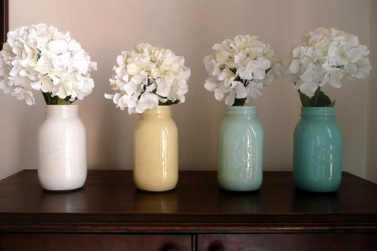 Painted Mason JarsDecor, Color Schemes, Mason Jar Vases, Painting Mason Jars, Cottages Chic, Painted Mason Jars, Colors Schemes, Jars Vases, Painting Jars