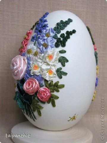 Декор предметов Вышивка Букет Скорлупа яичная фото 4