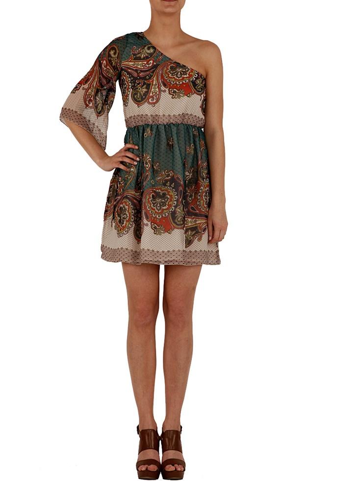 Shoulder dress with print scarves Spring/Summer 2012 by Motivi  Price: 69.95 € - Shop on: http://www.motivi.com/it/shoponline/prodotto/73P27717Q0314117