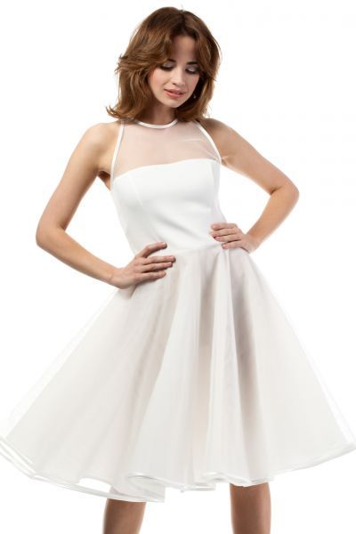 Evening dress length midi in shades of ecru