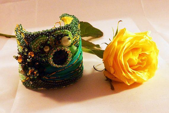 Beads embroidery bracelet  Titania by IzabelaCichocka on Etsy