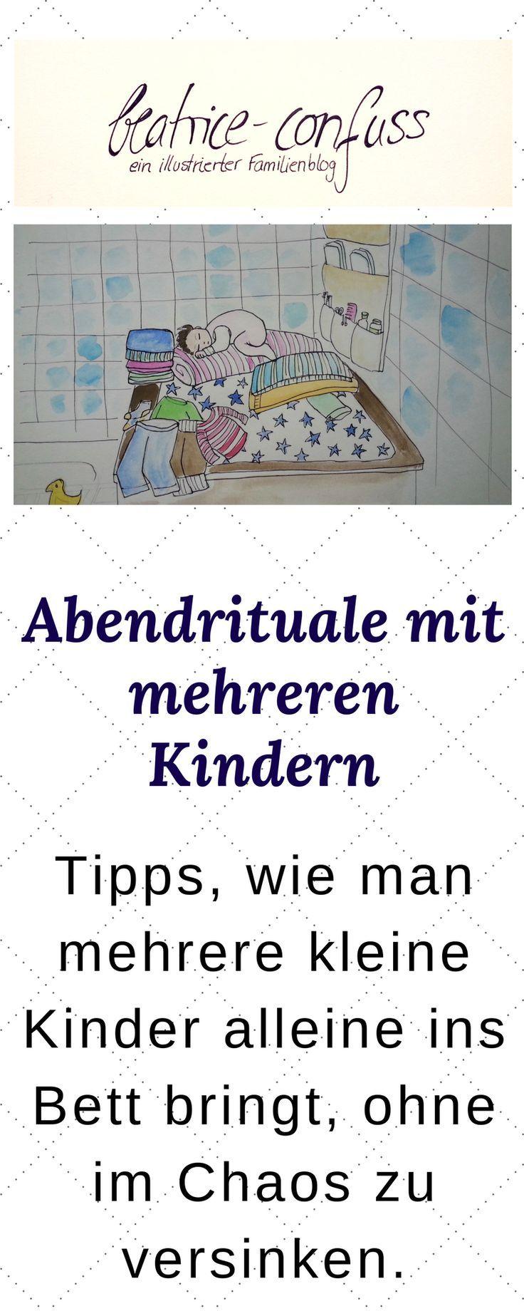 Wie man entspannt mehrer Kinder alleine ins Bett bringt. Tipps, Ideen und Erfahrungen.