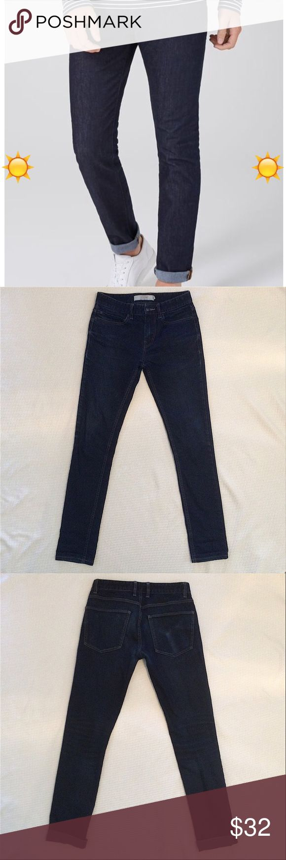 "Men's Navy Cuffed Stretch Skinny Jeans (30L) Great condition jeans - no holes or rips. There is a ""wallet outline"" on back pocket. Inseam with cuffs - 29"". Inseam without cuffs - 32"". Top of waist laying flat -15"". Topman Jeans Slim Straight"