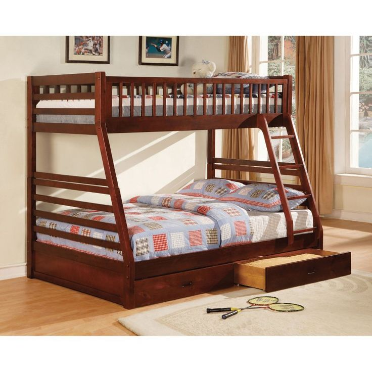 Furniture of America Twin over Full Bunk Bed with Storage Drawers - IDF-BK601CH