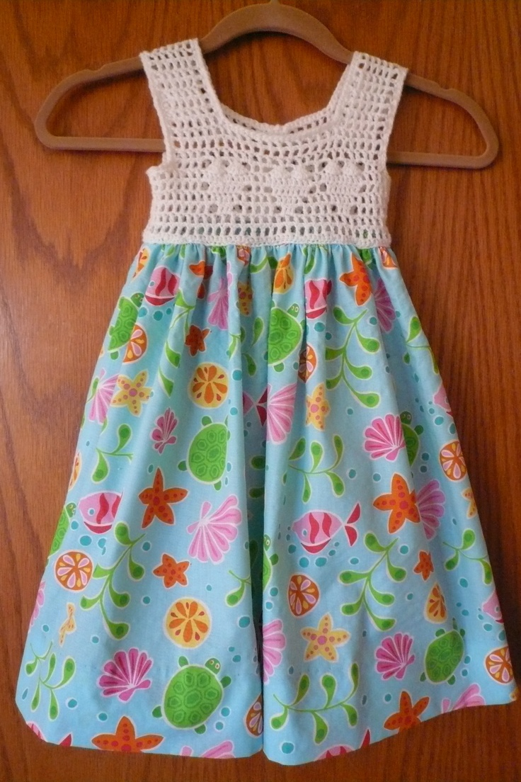 Sweet crocheted hearts and turquoise fabric - what little girl wouldn't love it? https://www.etsy.com/listing/101855251/sweet-summer-heart-dress-for-little-girl?ref=v1_other_2