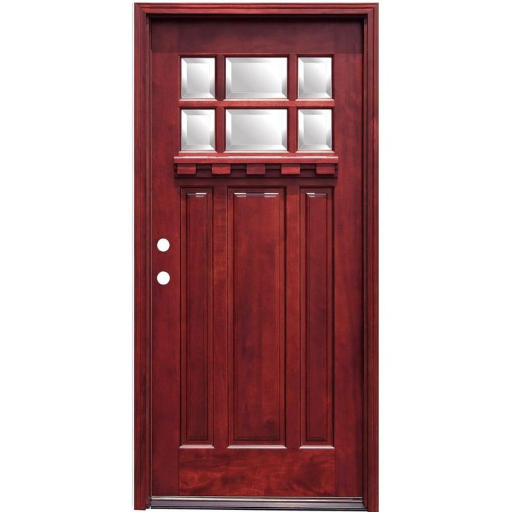 Pacific entries 36 in x 80 in craftsman 6 lite stained for Prehung exterior door