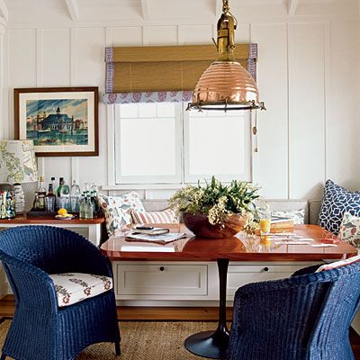 like the blue painted wicker for the guest room chair.